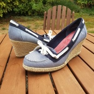 Sperry Top Sider Clarens Wedge Nautical Blue White